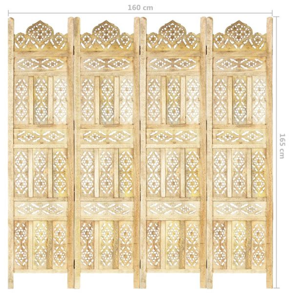 Wunderschöne Pomigliano d'Arco 4-tlg. Raumteiler Handgeschnitzt 160 x 165 cm Mango Massivholz