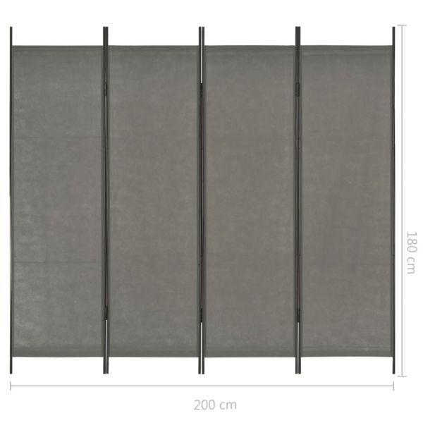 Trendige Scafati 4-tlg. Raumteiler Anthrazit 200 x 180 cm