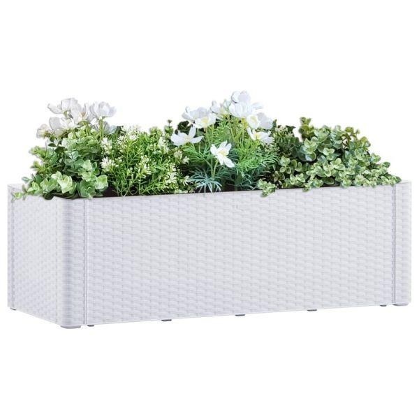 Fabelhafte Garten-Hochbeet mit Selbstbewässerungssystem Weiß 100x43x33 cm Tahmoor