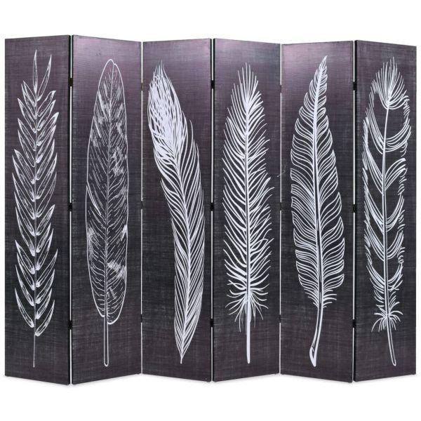 Moderner Lecce Raumteiler klappbar 228 x 170 cm Federn Schwarz-Weiß