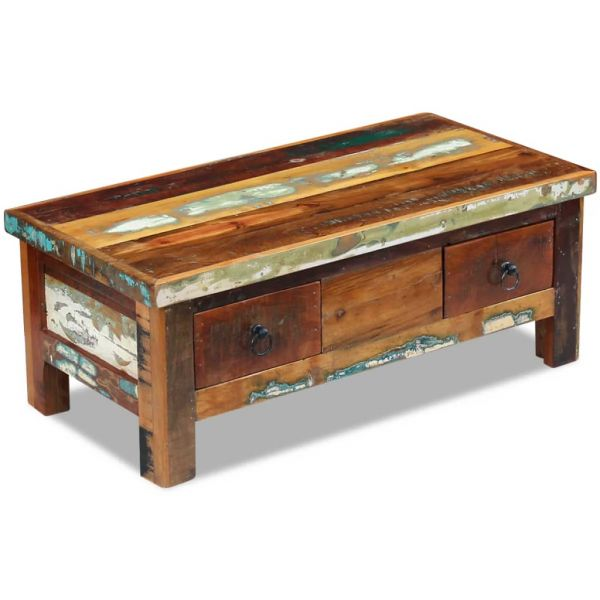 klassische Dun Laoghaire Couchtisch Schubladen Recyceltes Massivholz 90x45x35 cm