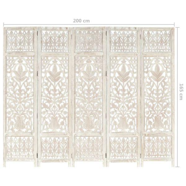 Dekorative Sassuolo 5tlg. Raumteiler Handgeschnitzt Weiß 200 x 165cm Mango Massivholz