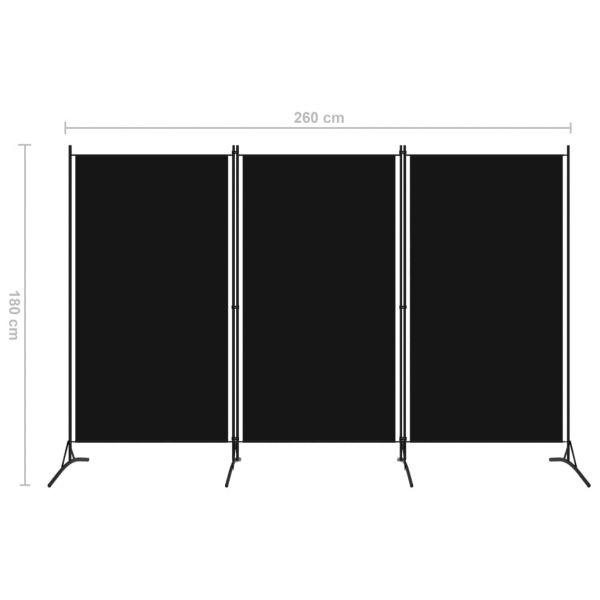Traumhafte Aosta 3-tlg. Raumteiler Schwarz 260x180 cm