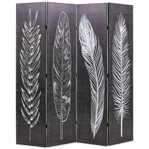 Trendige Lucca Raumteiler klappbar 160 x 170 cm Federn Schwarz-Weiß