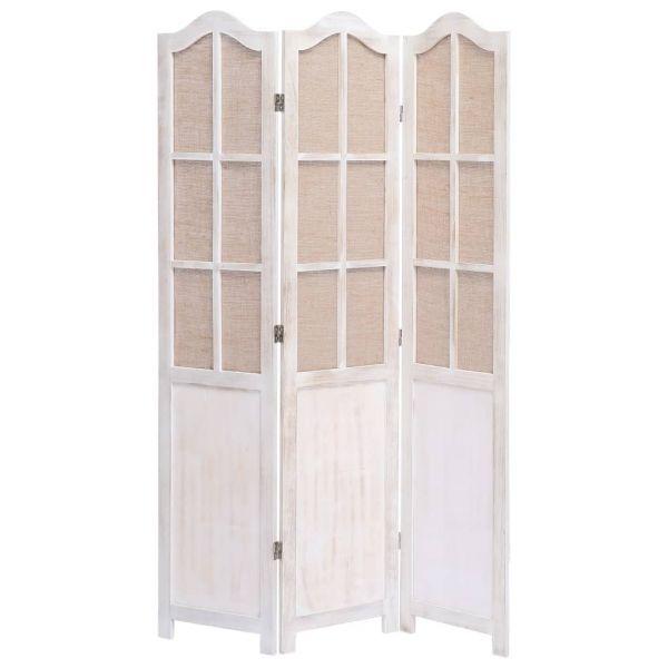 Moderner Cascina 3-teiliger Raumteiler Weiß 105 x 165 cm Stoff