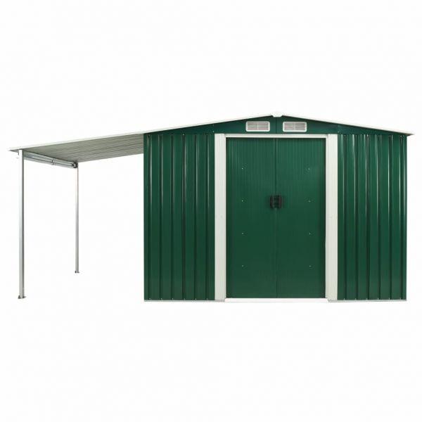 Qualitativer Gerätehaus mit Schiebetüren Grün 386 x 205 x 178 cm Stahl Guines