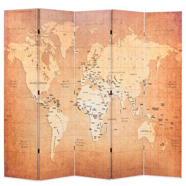Charmante Forli Raumteiler klappbar 200 x 170 cm Weltkarte Gelb