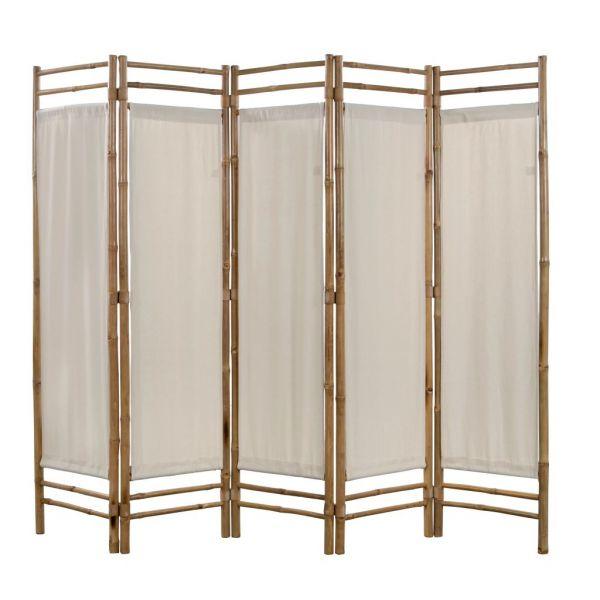 Schöne Terracina 5-teiliger Faltbarer Raumteiler Bambus und Leinwand 200 cm