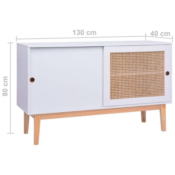 bildschöne Derry Sideboard Weiß 130x40x80 cm MDF und Rattan