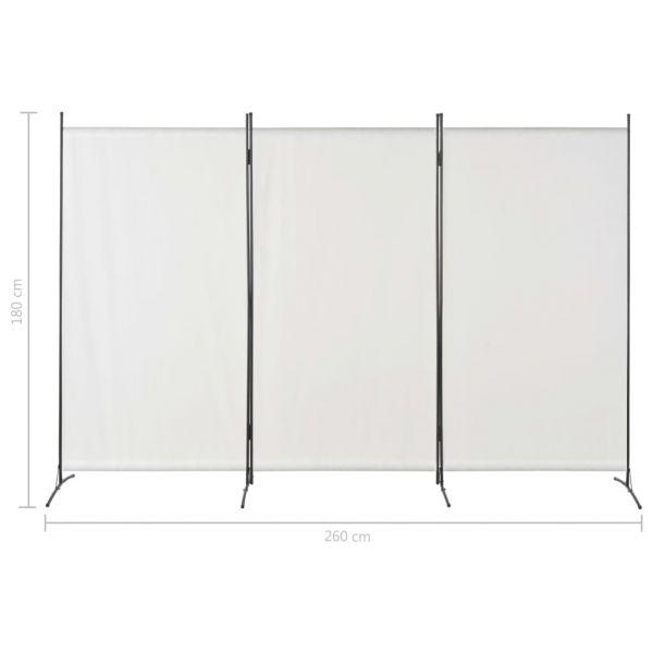 Dekorative San Remo 3-tlg. Raumteiler Weiß 260 x 180 cm