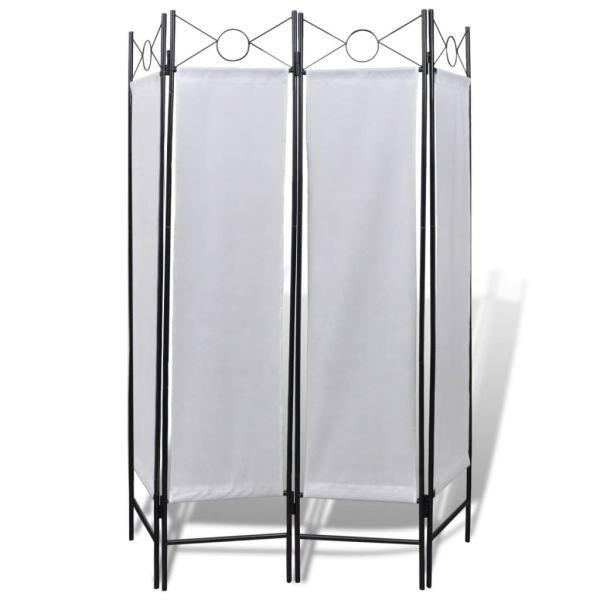 Klassische Florence Raumteiler 4tlg Sichtschutz Wandschirm weiß 160x180