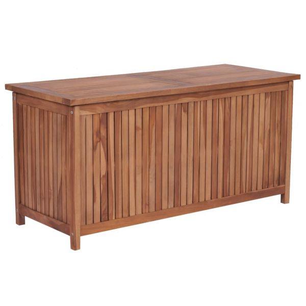 Robuste Gartenbox 120 x 50 x 58 cm Teak Massivholz Liege