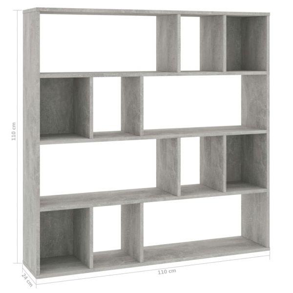 Klassische Gragnano Raumteiler/Bücherregal Betongrau 110 x 24 x 110 cm Spanplatte