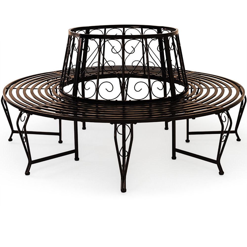 baumbank bank metall sitzbank gartenbank rundbank. Black Bedroom Furniture Sets. Home Design Ideas