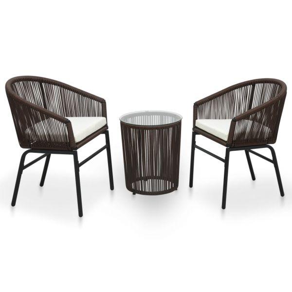3-tlg. Balkonmöbel Bistro-Set mit Kissen PVC Rattan Braun ' Miramar '
