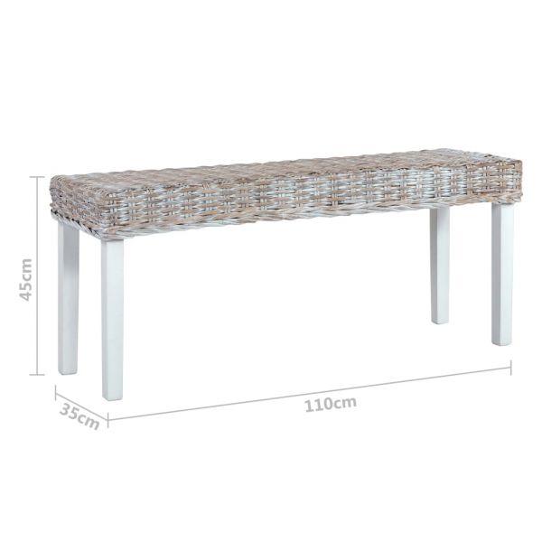 klassische Sitzbank 110 cm Weiß Natur Kubu-Rattan und Massivholz Mango Tapolca