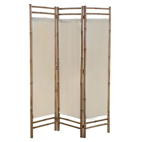 Prachtvolle San Giuliano Milanese 3-teiliger Faltbarer Raumteiler Bambus und Leinwand 120 cm