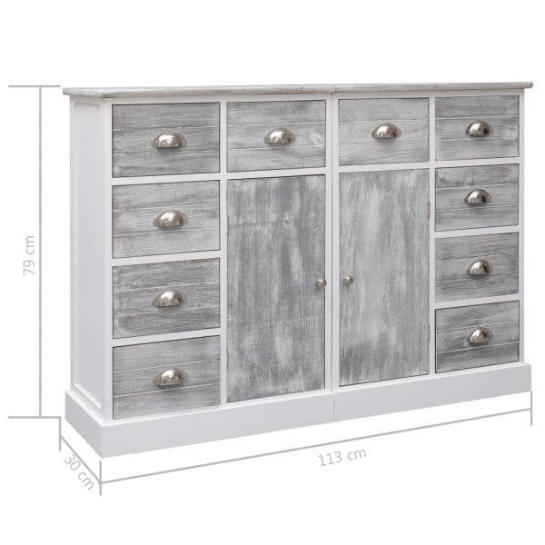 wundervolle High Peak Sideboard mit 10 Schubladen Grau 113 x 30 x 79 cm Holz