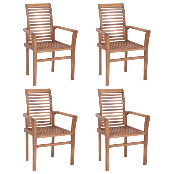 Schöne Esstischstühle 4 Stk. Stapelbar Teak Massivholz Tiszavasvari