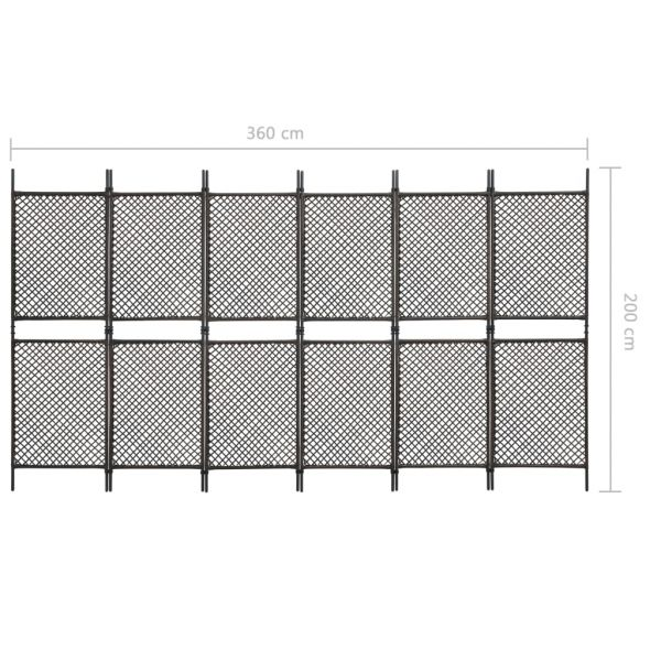 Klassische Conegliano 6-tlg. Raumteiler Poly Rattan Braun 360 x 200 cm