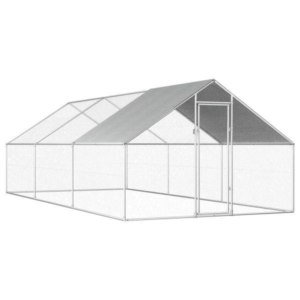 Hühnerkäfig Solider Hühnervoliere 2,75x6x2 m Verzinkter Stahl