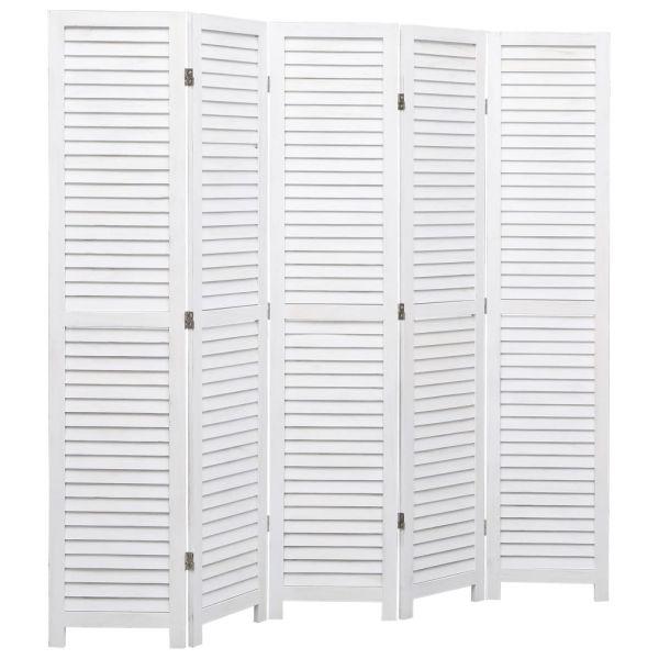 Wundervolle Frosinone 5-tlg. Raumteiler Weiß 175 x 165 cm Holz