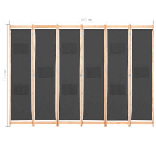Zauberhafte Cremona 6-teiliger Raumteiler Grau 240 x 170 x 4 cm Stoff
