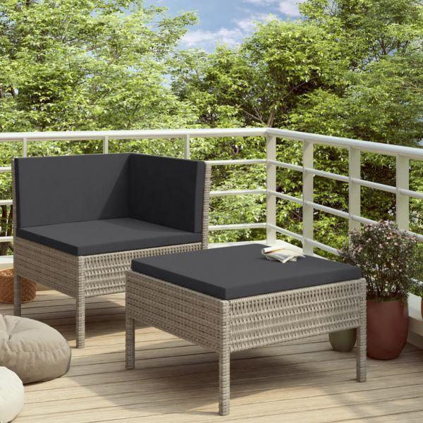 Erstklassige 2-tlg. Garten-Lounge-Set mit Auflagen Poly Rattan Grau Ciudad Benito Juarez