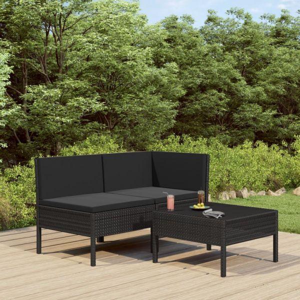 Imposante 3-tlg. Garten-Lounge-Set mit Auflagen Poly Rattan Schwarz Coatzacoalcos