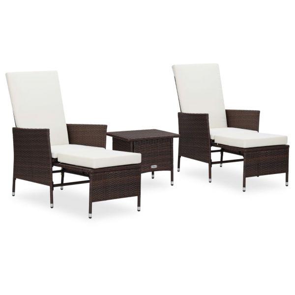 Herrliche 3-tlg. Garten-Lounge-Set mit Auflagen Poly Rattan Braun Nicolas Romero