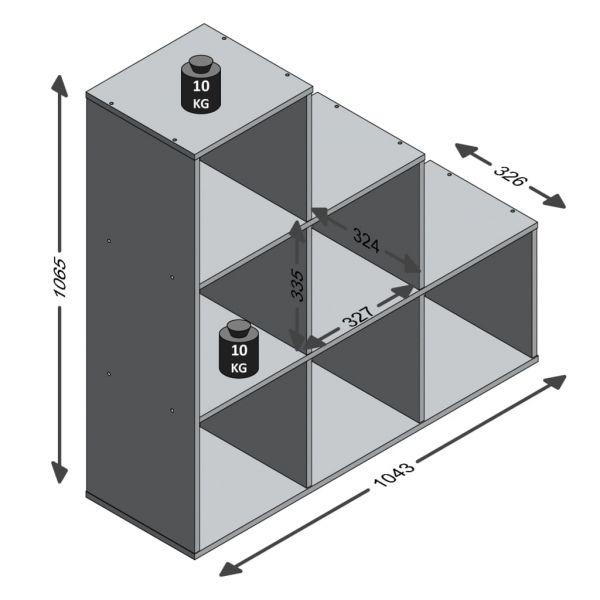Wundervolle Milazzo FMD Raumteiler mit 6 Fächern Betongrau