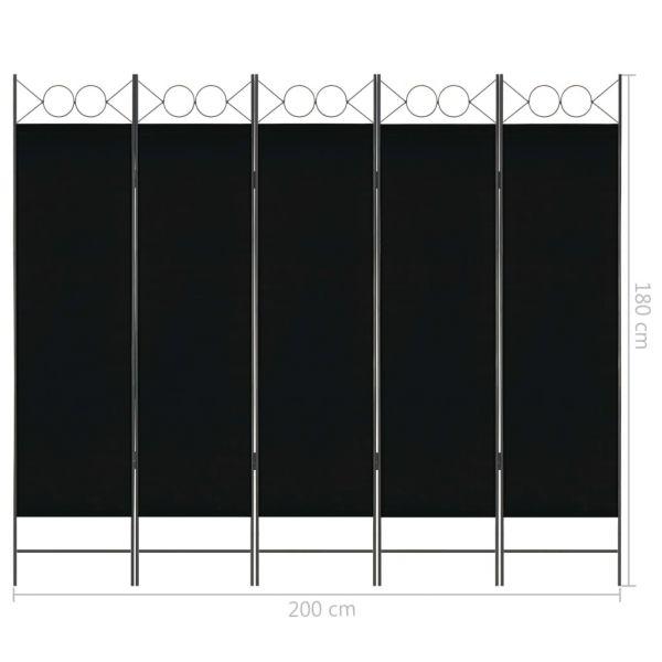 Moderner Imola 5-tlg. Raumteiler Schwarz 200 x 180 cm
