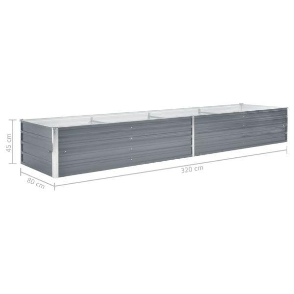 Moderne Garten-Hochbeet Verzinkter Stahl 320x80x45 cm Grau Ararat