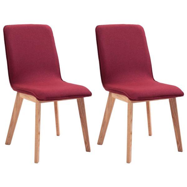 fabelhafte Esszimmerstühle 2 Stk. Rot Stoff und Massivholz Eiche Hajduszoboszlo
