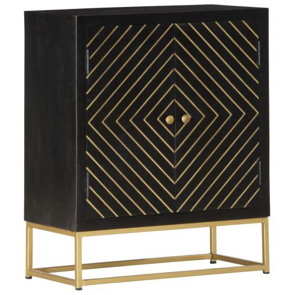 klassische Becontree Sideboard Schwarz und Golden 60 x 30 x 75 cm Massivholz Mango