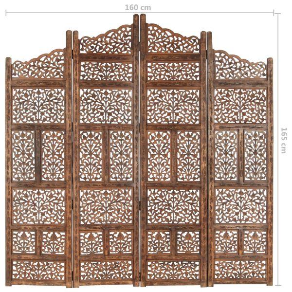4-tlg. Raumteiler Handgeschnitzt Braun 160 x 165 cm Mangoholz