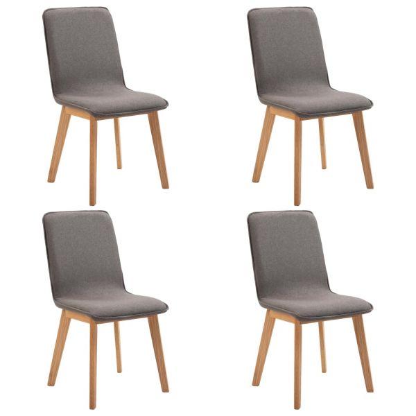 klassische Esszimmerstühle 4 Stk. Taupe Stoff und Massivholz Eiche Torokszentmiklos