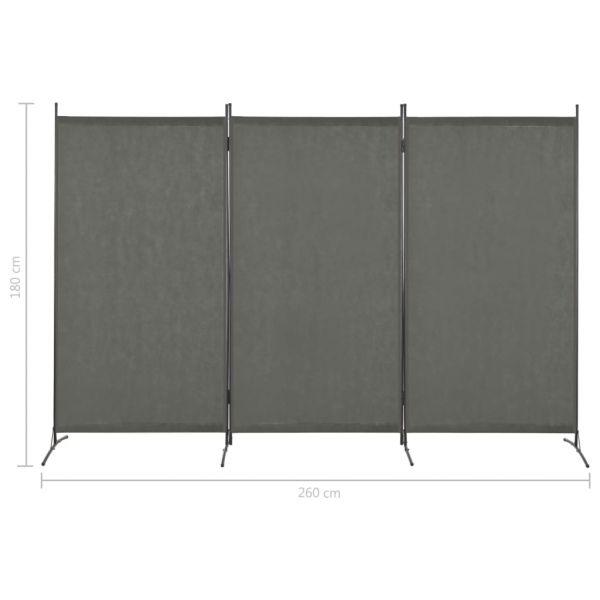 Charmante Collegno 3-tlg. Raumteiler Anthrazit 260 x 180 cm