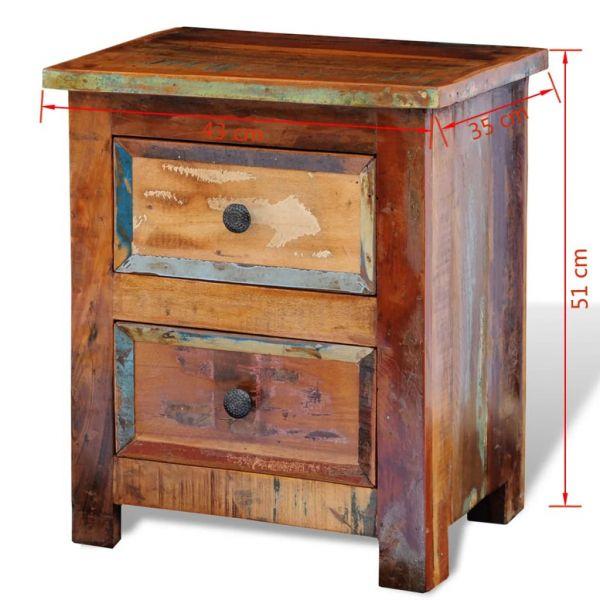 klassische Nachtschrank mit 2 Schubladen Recyceltes Massivholz Stjordalshalsen