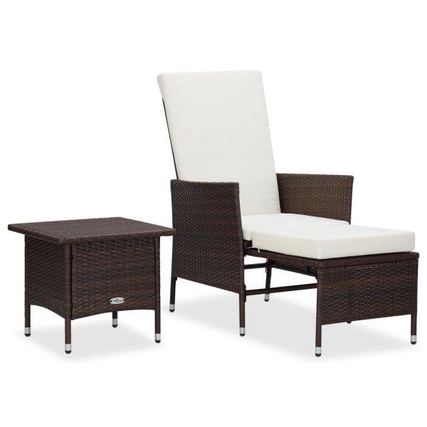 Erstklassige 2-tlg. Garten-Lounge-Set mit Auflagen Poly Rattan Braun Playa del Carmen