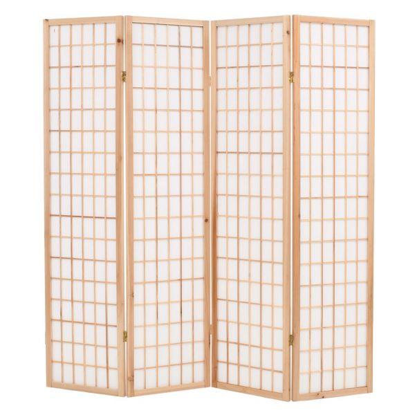 Wunderschöne Pesaro 4-tlg. Raumteiler Japanischer Stil Klappbar 160 x 170 cm Natur