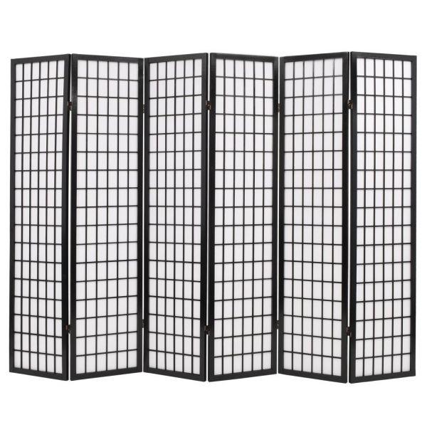 Wundervolle Marsala 6tlg. Raumteiler Japanischer Stil Klappbar 240 x 170 cm Schwarz