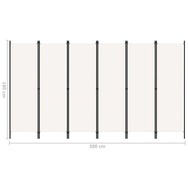 Klassische Campi Bisenzio 6-tlg. Raumteiler Weiß 300x180 cm