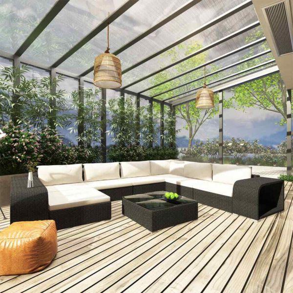 Lounge Gartenmöbel Terrasse Sitzgruppe Sitzgarnitur Polyrattan