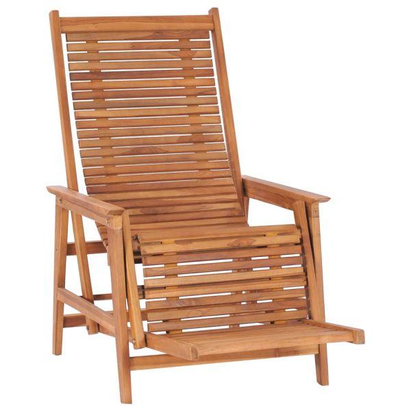 Erstklassige Garten-Loungestuhl mit Fußablage Teak Massivholz Lázně Bohdaneč