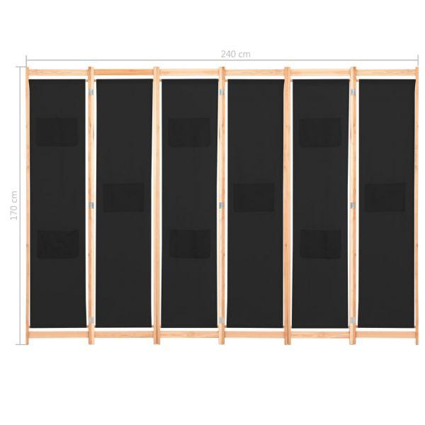 Prachtvolle Caltanissetta 6-teiliger Raumteiler Schwarz 240 x 170 x 4 cm Stoff
