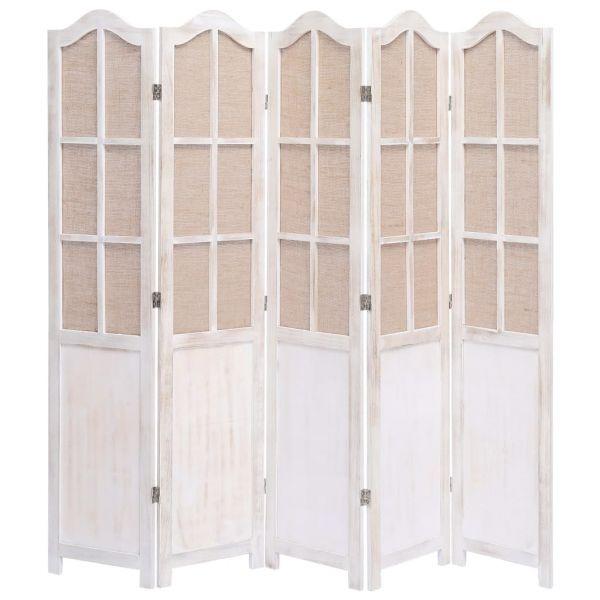 Prachtvolle Marcianise 5-teiliger Raumteiler Weiß 175 x 165 cm Stoff