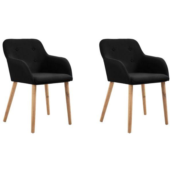 Schöne Esszimmerstühle 2 Stk. Schwarz Stoff und Massivholz Eiche Monor