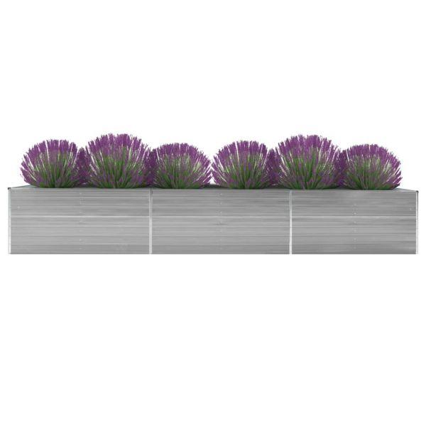 Hochwertige Garten-Hochbeet Verzinkter Stahl 480x80x77 cm Grau Waterford