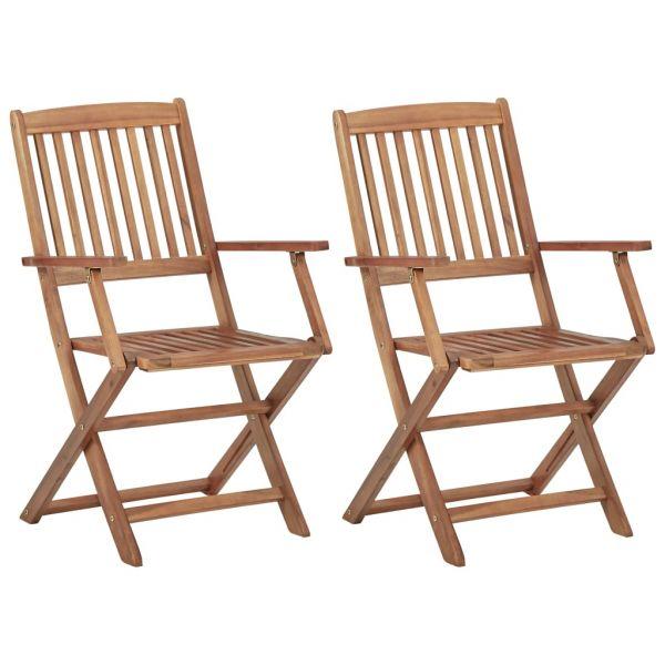 Herrliche Klappbare Gartenstühle 2 Stk. Massivholz Akazie Jílové